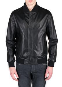 Pánska kožená bunda  jeans slim, farba čierna