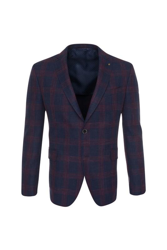 Pánske sako informal , farba modrá, červená