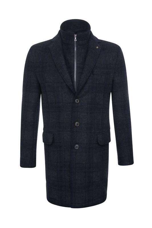 Pánsky plášť casual , farba šedá, modrá