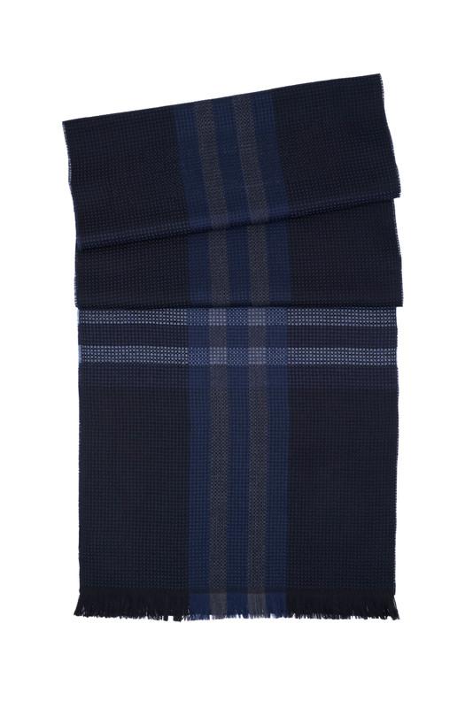 Pánsky šál  , farba čierna, modrá