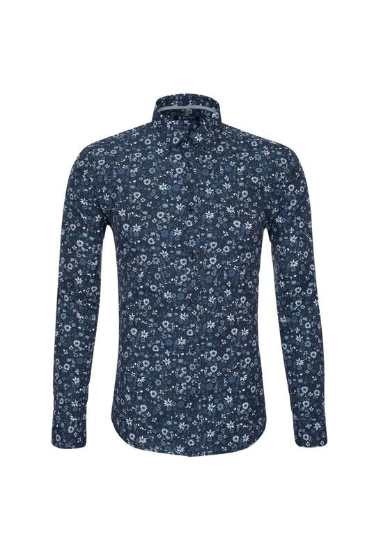 Košeľa casual slim, farba modrá