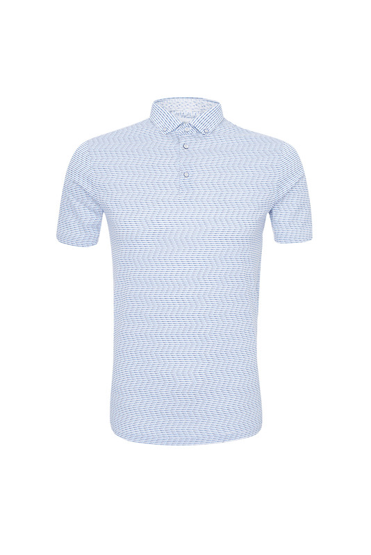 Triko informal slim, farba modrá, biela