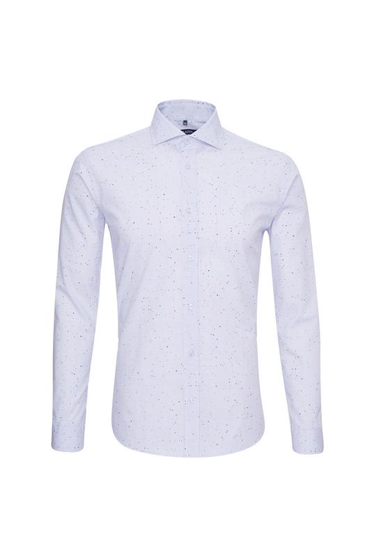 Košeľa casual slim, farba biela, modrá