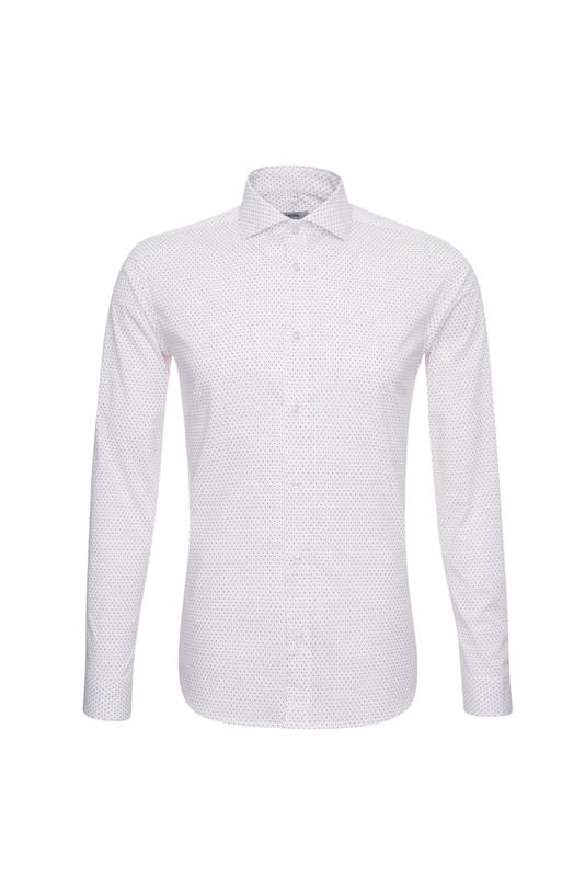 Košeľa informal slim, farba ružová, biela