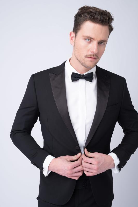 Oblekové sako ceremony extra slim, farba čierna