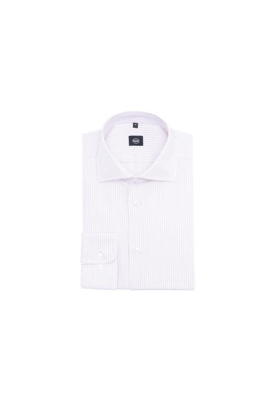 Košeľa formal slim, farba biela, ružová