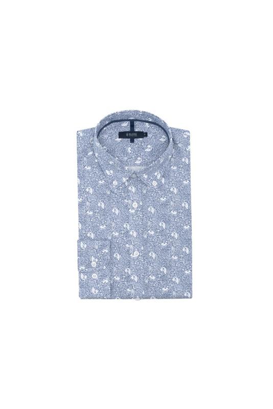 Košeľa informal slim, farba modrá, biela