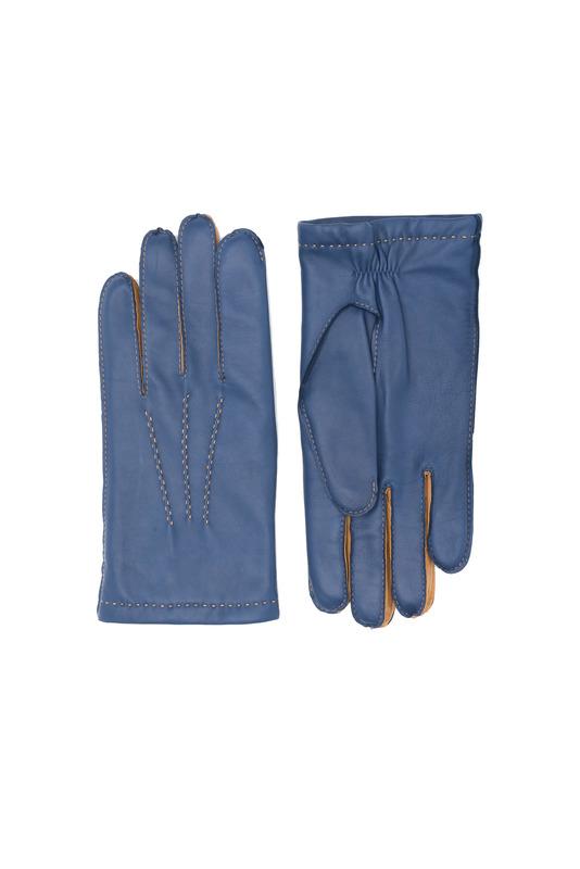 Rukavice formal slim, farba modrá, hnědá