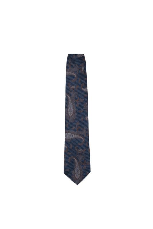 Kravata formal, farba modrá, hnědá