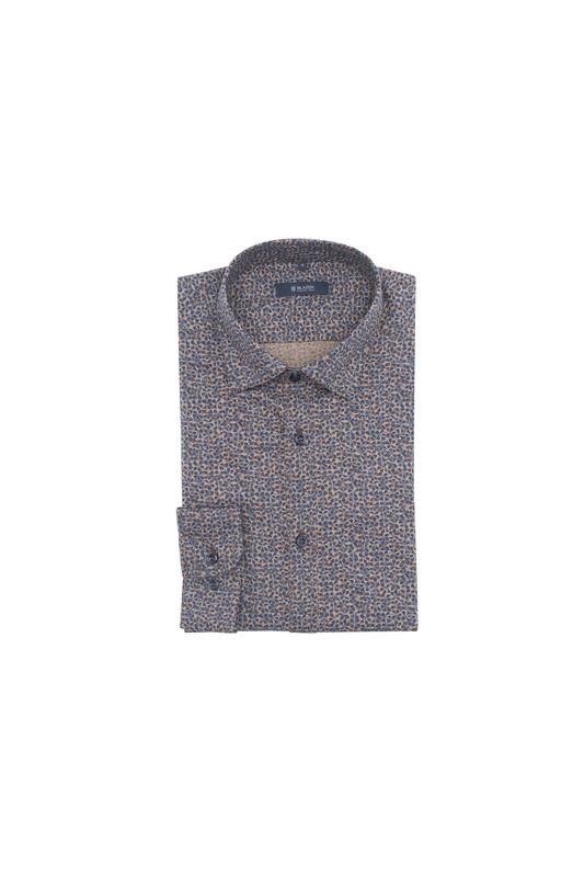Košeľa informal, farba hnedá, modrá