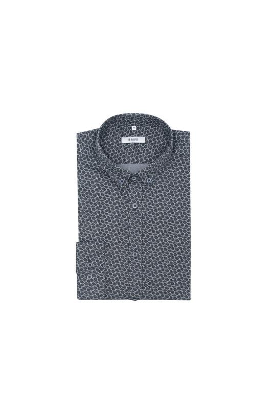Košeľa informal slim, farba sivá, čierna
