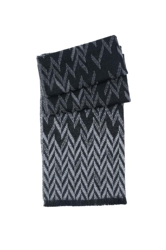Šál informal, farba čierna, šedá
