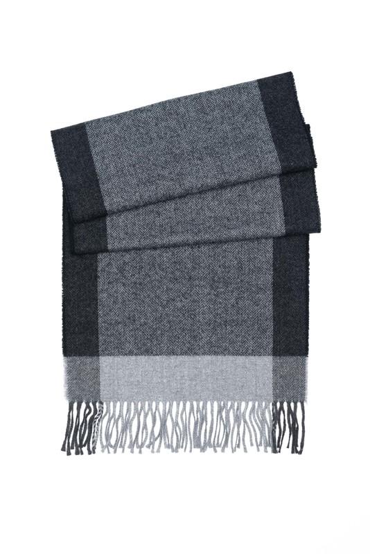 Šál informal, farba sivá, čierna