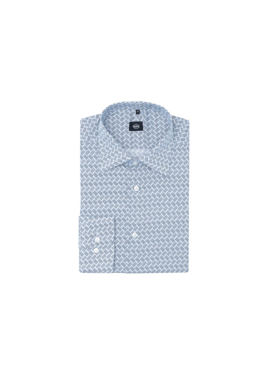 Košeľa formal slim, farba biela, sivá