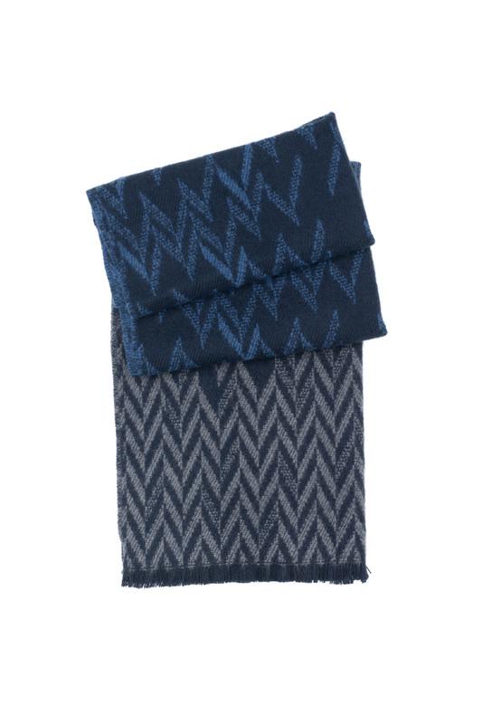 Šál informal, farba šedá, modrá