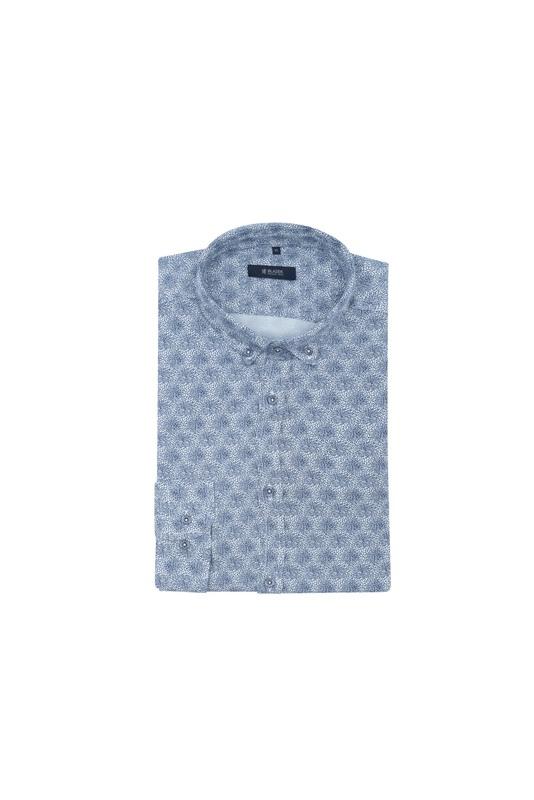 Košeľa informal, farba šedá, modrá