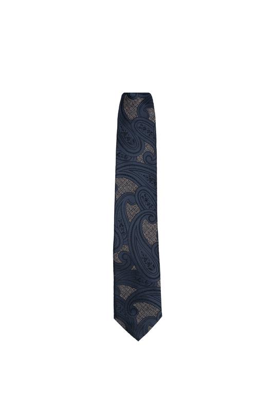Kravata essential, farba modrá, béžová