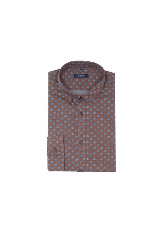 Košeľa informal slim, farba hnedá, modrá