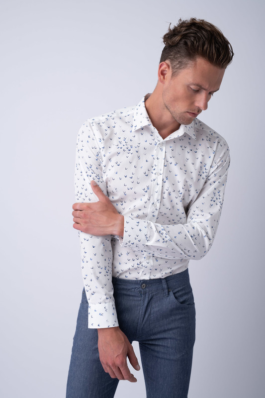 Košeľa informal extra slim, farba biela, modrá