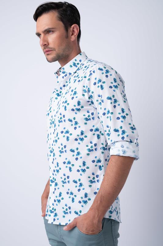 Košeľa informal slim, farba biela, modrá
