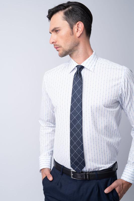Košeľa formal slim, farba biela, modrá