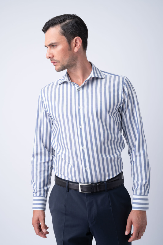 Košeľa essential slim, farba biela, modrá
