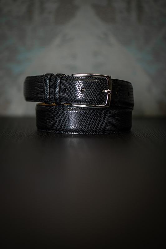 Čierny opasok z pravej Jašteričie kože