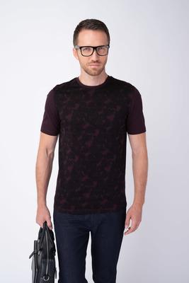 Vínové tričko S florálnym vzorom