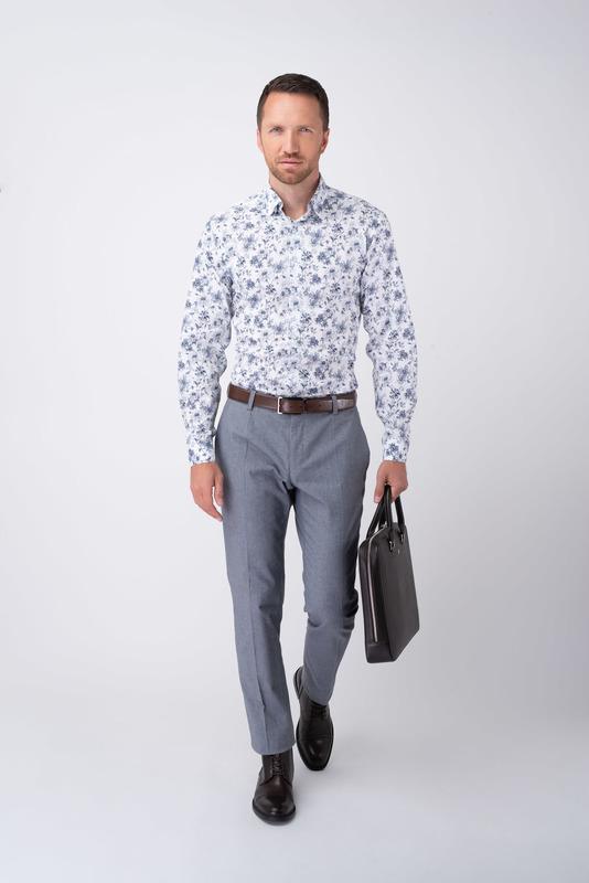 Sivé neformálne nohavice Z bavlny s prímesou elastanu