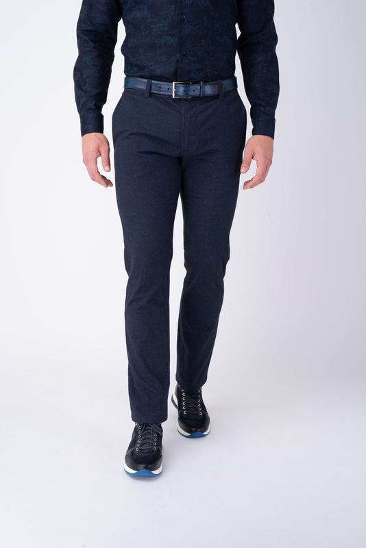 Modré neformálne nohavice Z bavlny s prímesou elastanu
