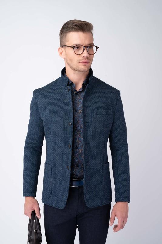 Modré jesey jacket S výraznou štruktúrou