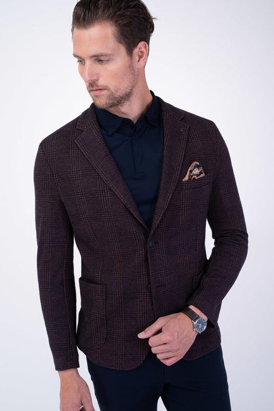 Hnedé jersey jacket S károvaným vzorom