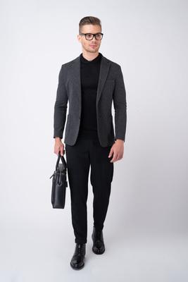 Sivé jersey jacket Zo zmesi vlny a bavlny