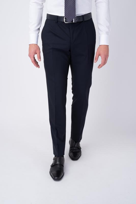 Tmavo modré oblekové nohavice V extra slim strihu