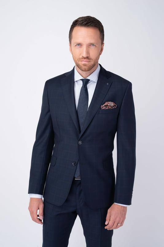 Tmavo modré oblekové sako Zo 100% vlny