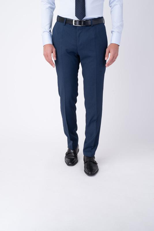 Tmavo modré oblekové nohavice Zo 100% vlny