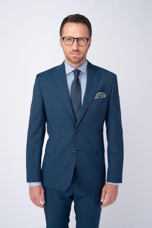 Modré oblekové sako Zo 100% vlny